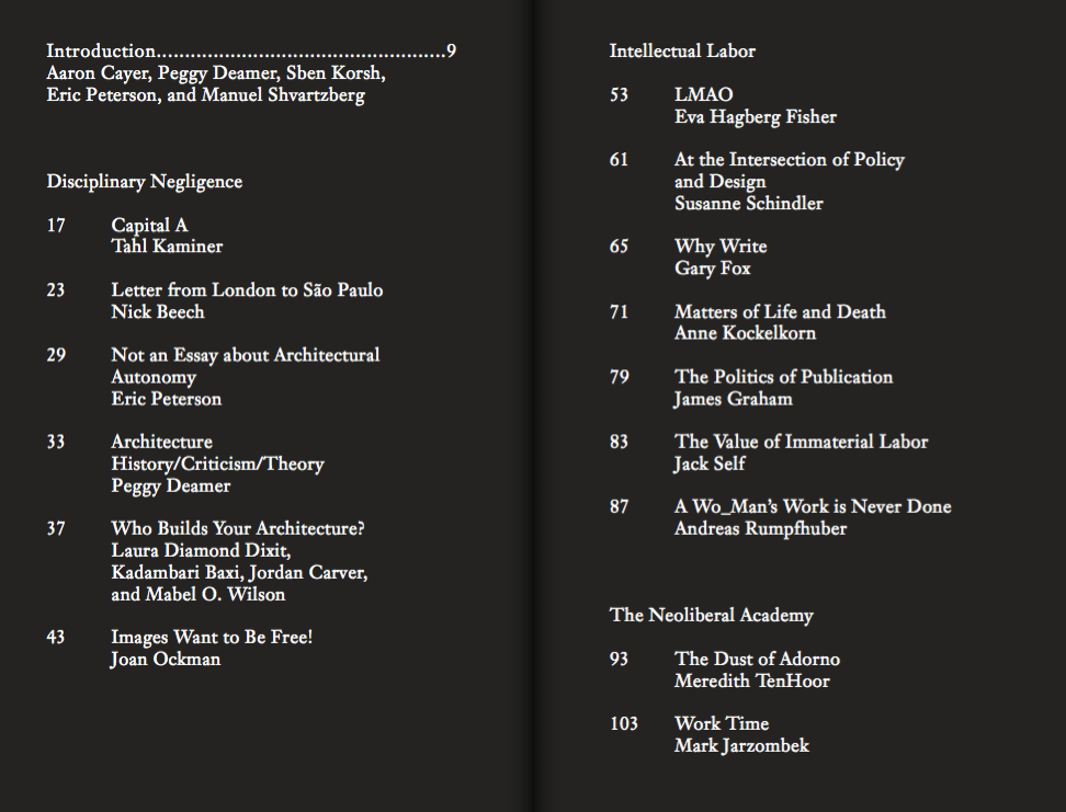 Table of Contents for Asymmetric Labors