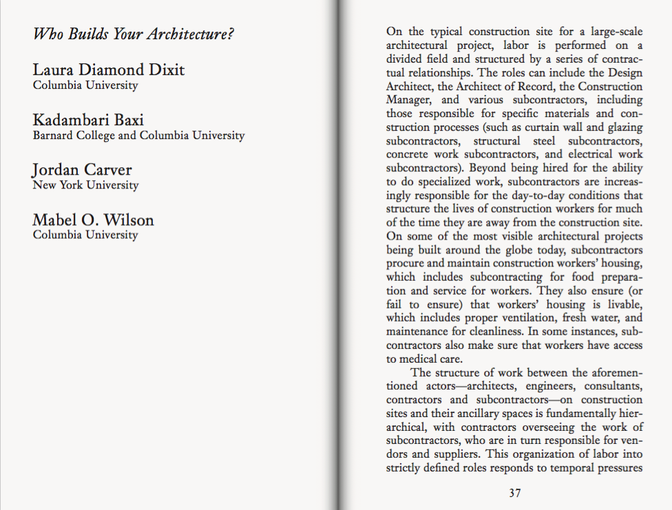 "First page, ""Who Builds Your Architecture?"" in Asymmetric Labors"